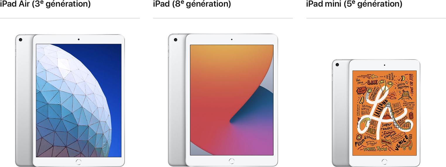 iPad mini comparaison taille