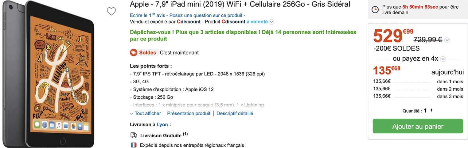 iPad mini 5 soldes CDiscount