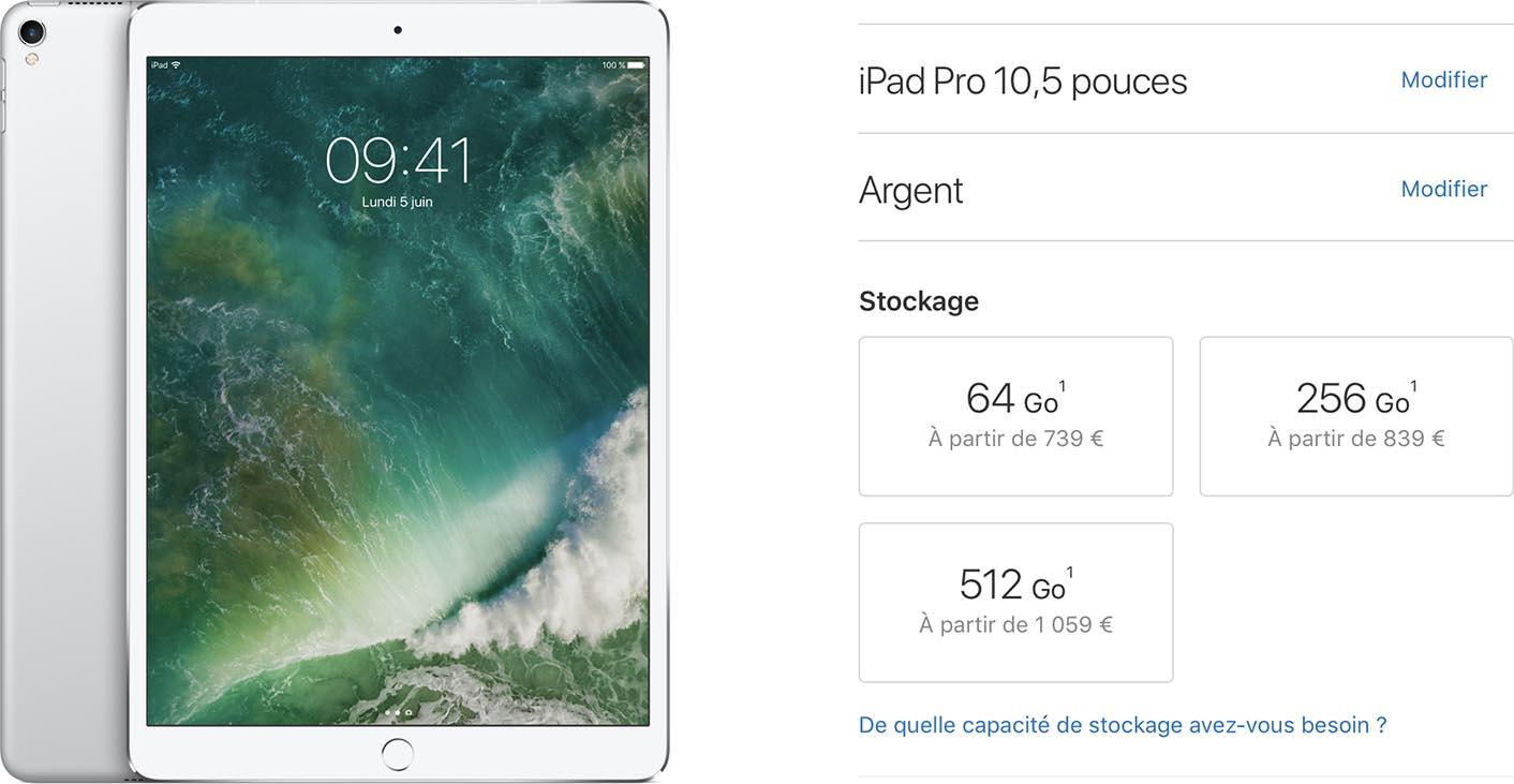 Tarifs iPad Pro 2017