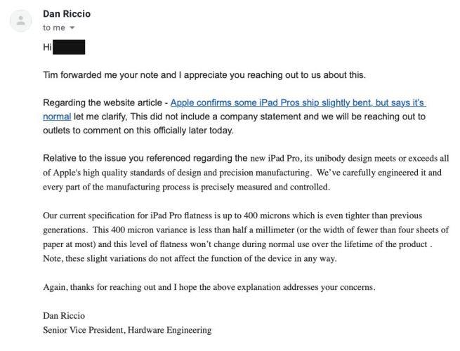 iPad Pro bendgate e-mail Dan Riccio