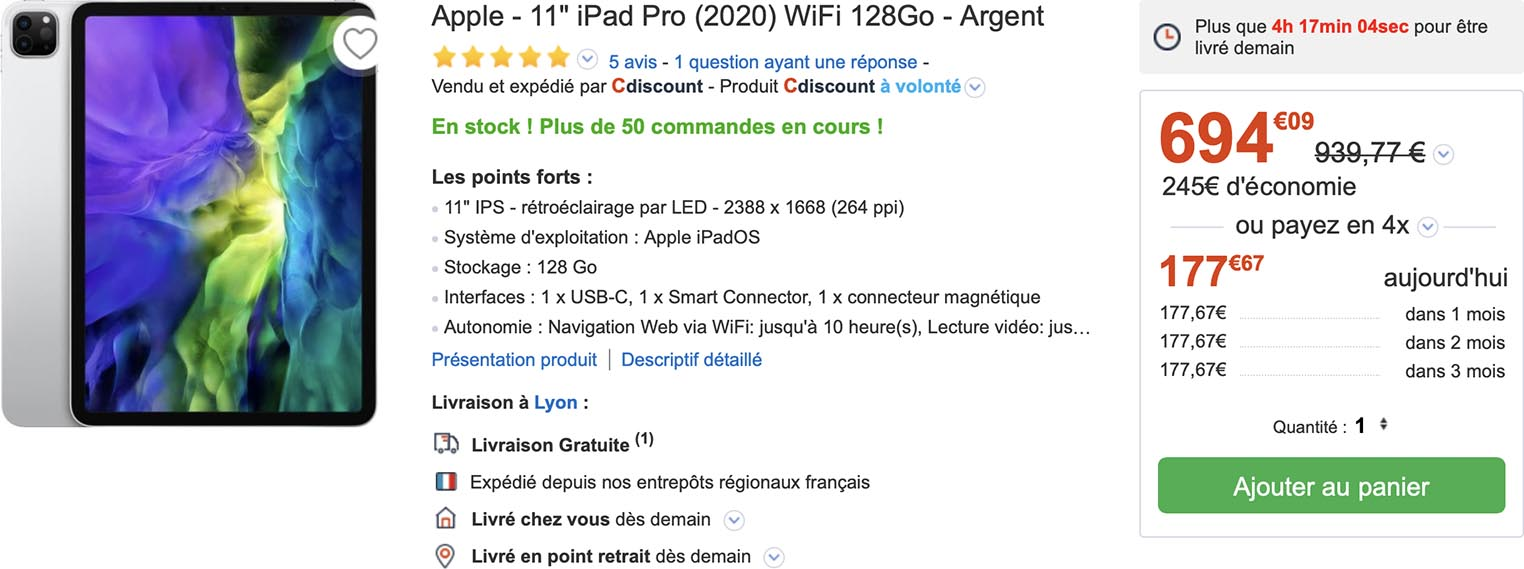iPad Pro 2020 CDiscount