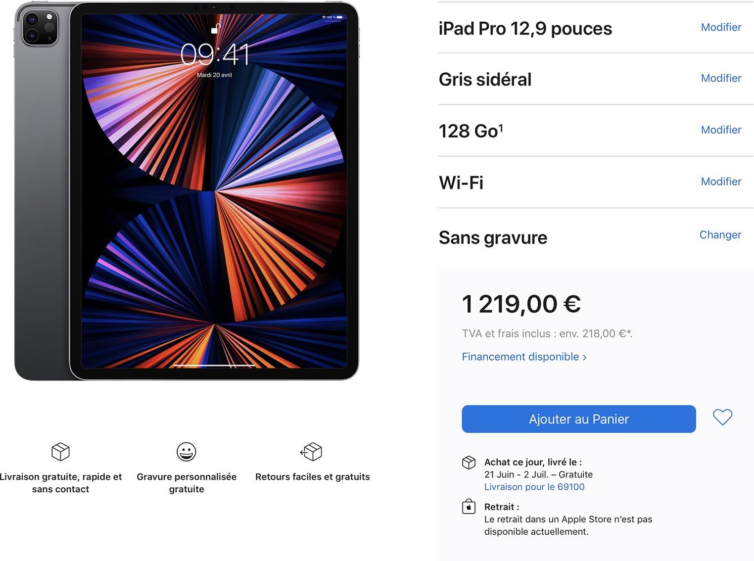 Délais iPad Pro 12,9 pouces