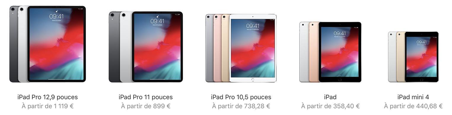 Gamme iPad 2018