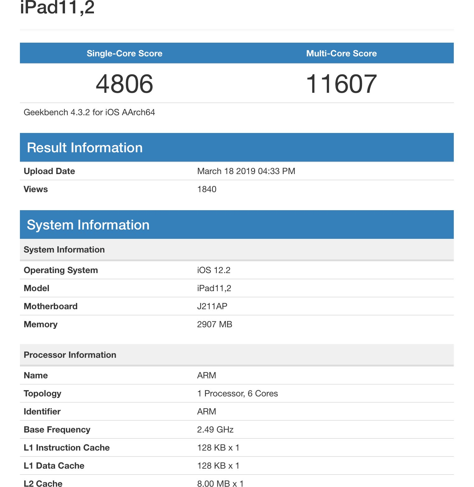 iPad 2019 Apple A12 Geekbench