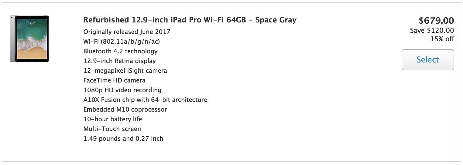 iPad Pro 12 Refurb US