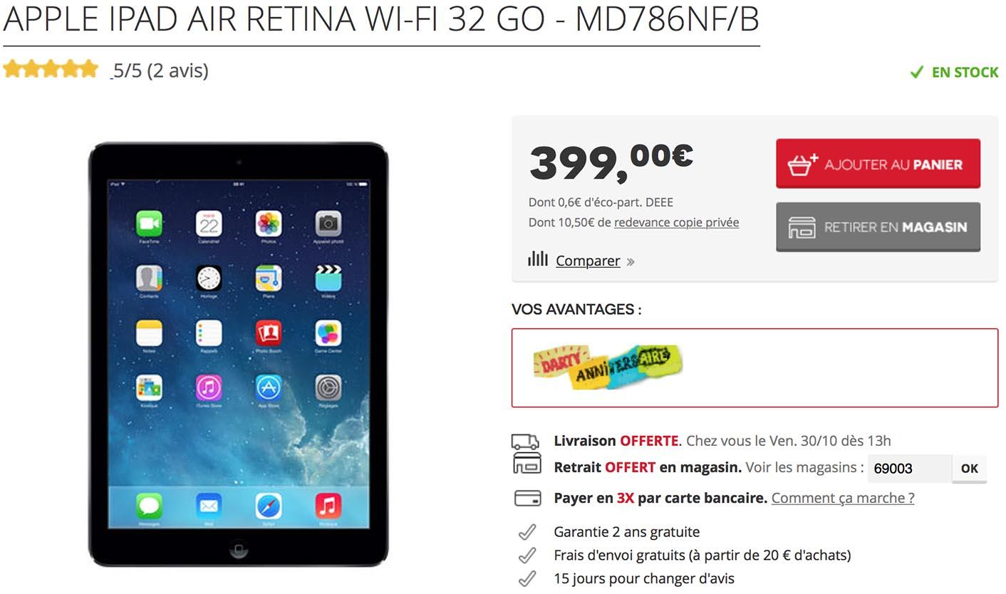 iPad Air 2 32 Go Darty