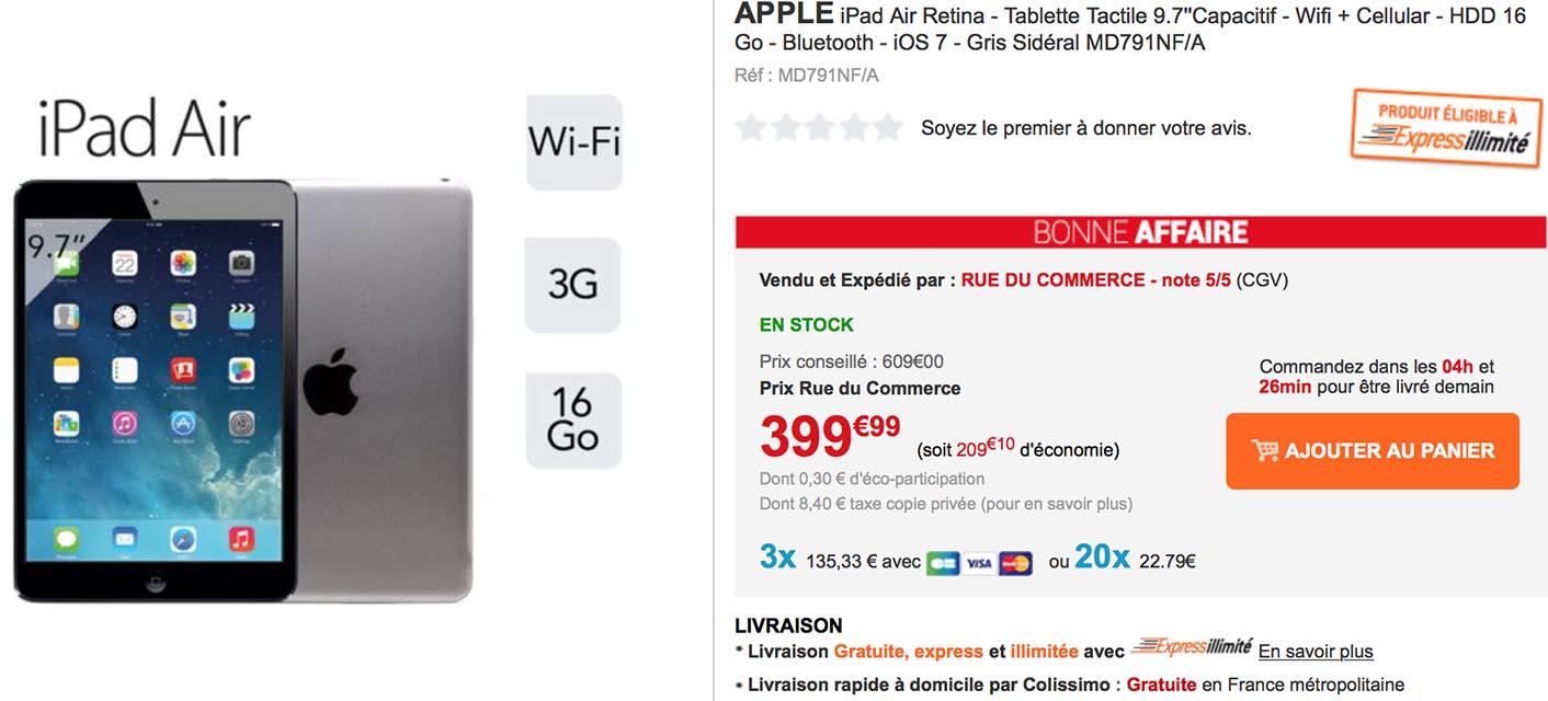 iPad Air cellulaire Rue du Commerce
