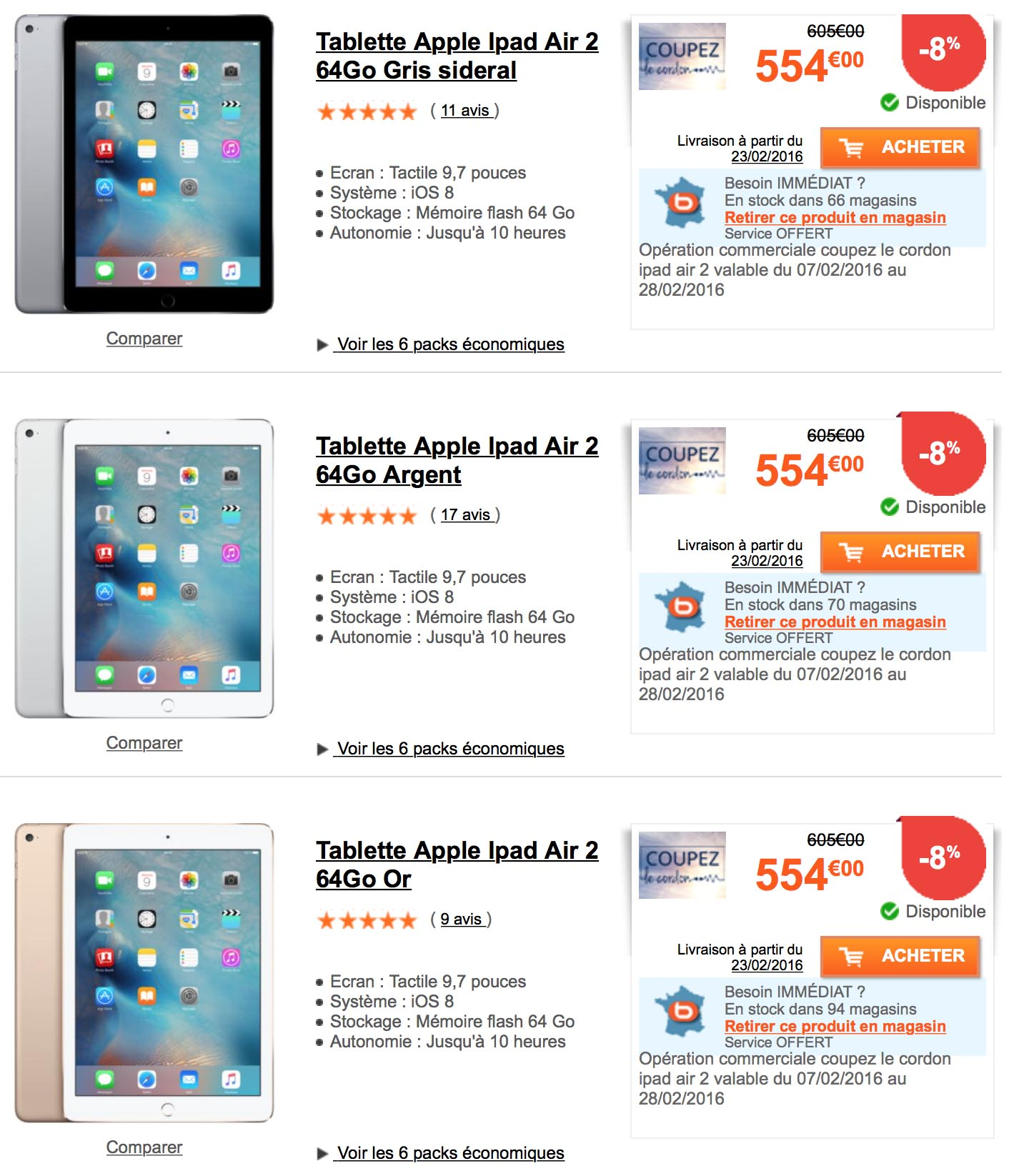 iPad Air 2 Boulanger
