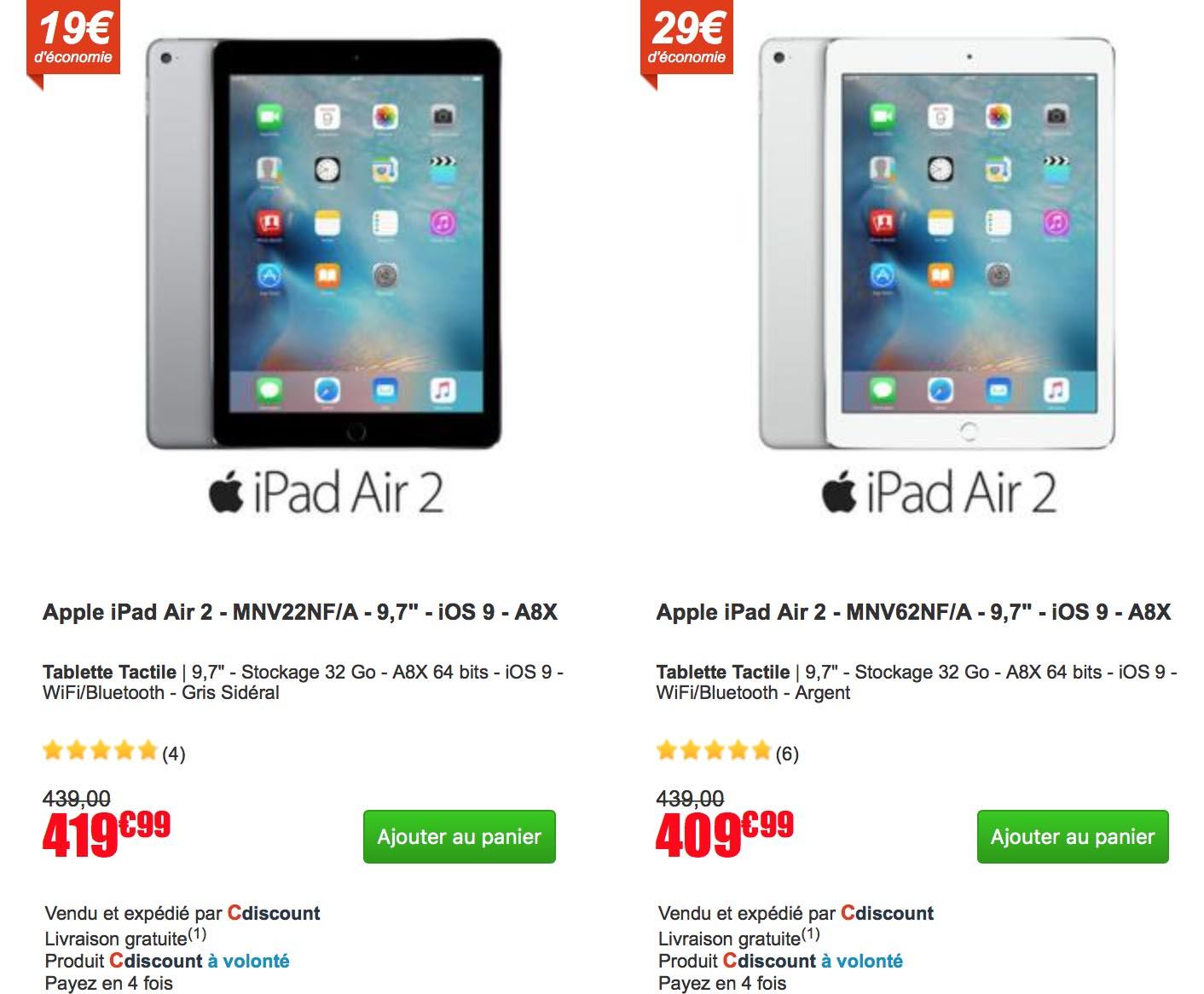 Promo iPad Air 2 CDiscount
