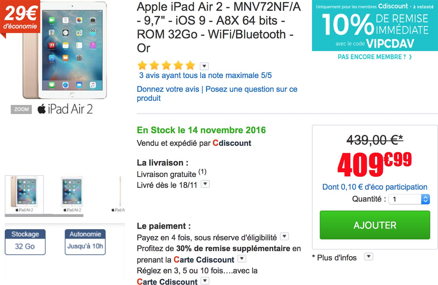 iPad Air 2 promo CDiscount