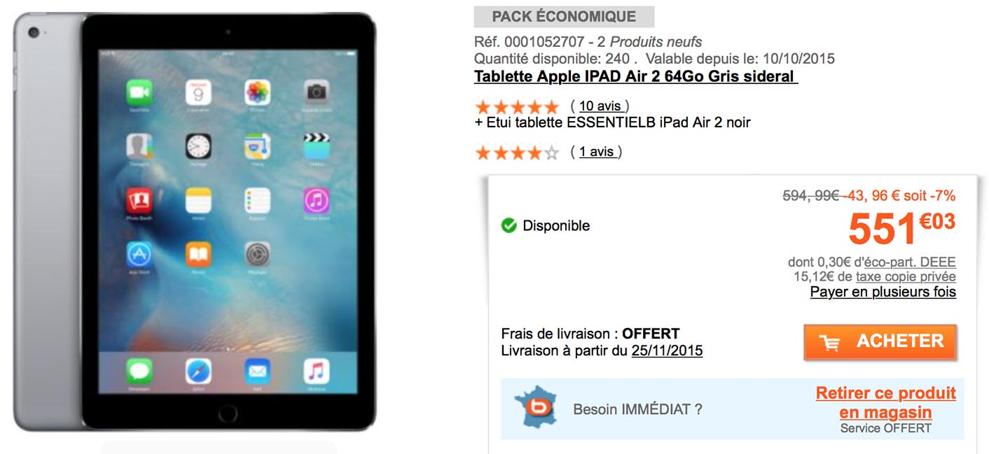 consomac l 39 ipad air 2 de 64 go en promo chez boulanger. Black Bedroom Furniture Sets. Home Design Ideas