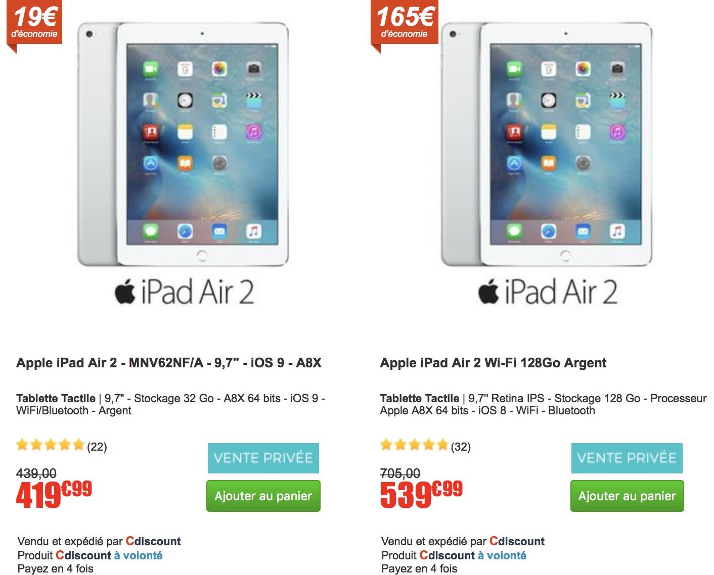 iPad Air 2 promo CDiscount