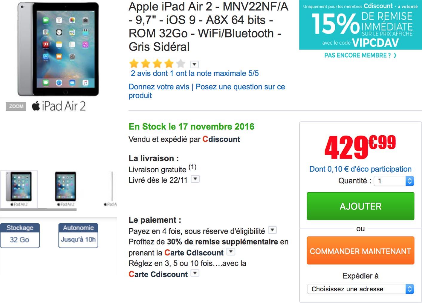 iPad Air 2 CDiscount