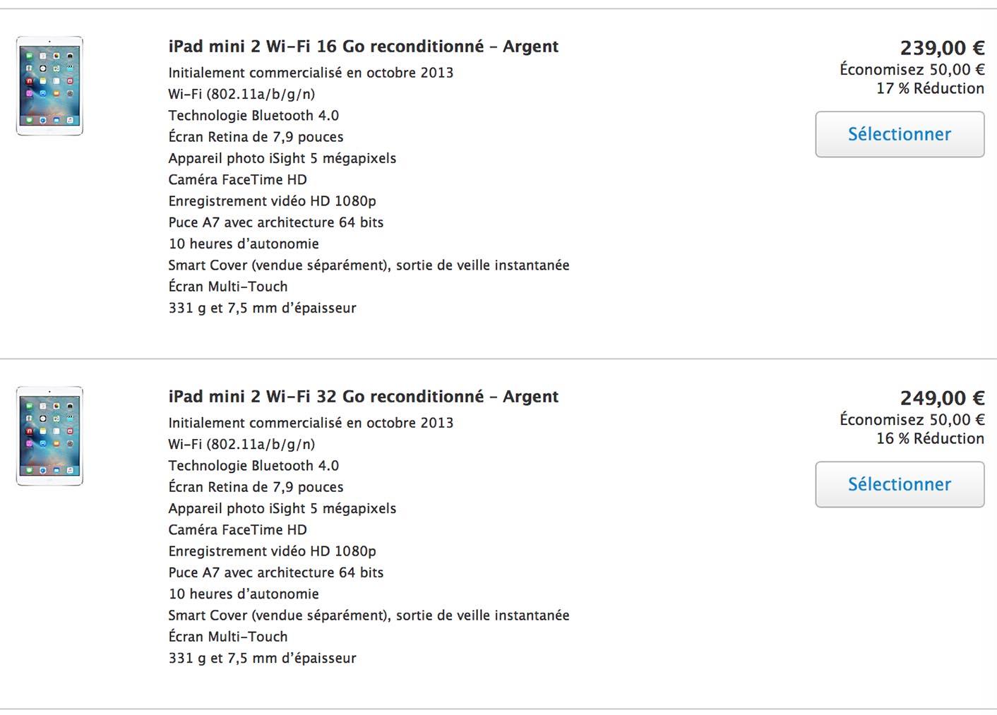 iPad mini baisse Refurb