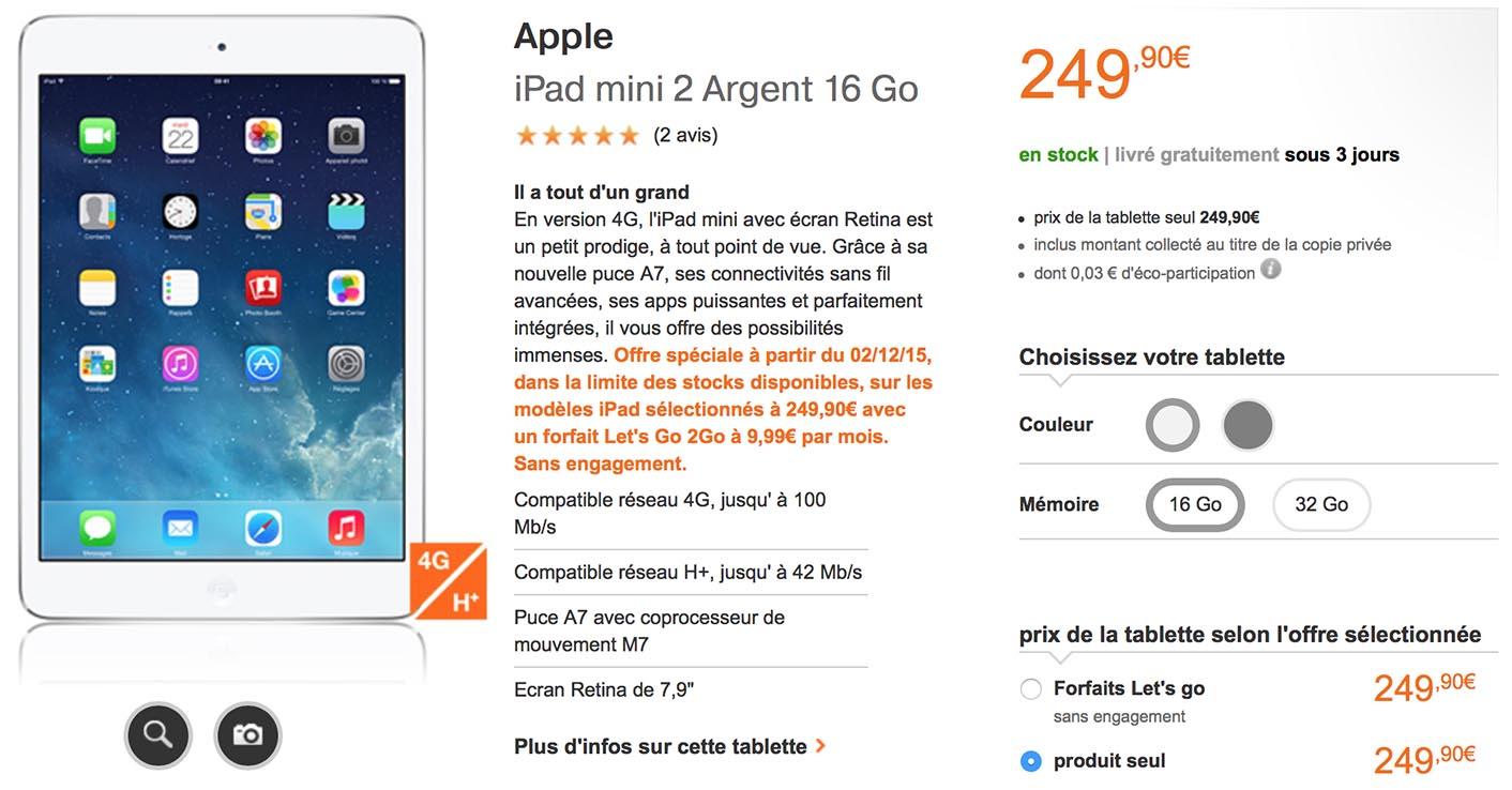 iPad mini 2 cellulaire Orange