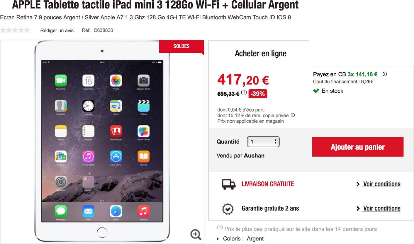 iPad mini 3 Auchan