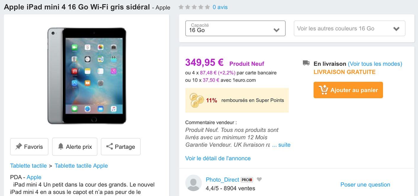 iPad mini 4 promo PriceMinister