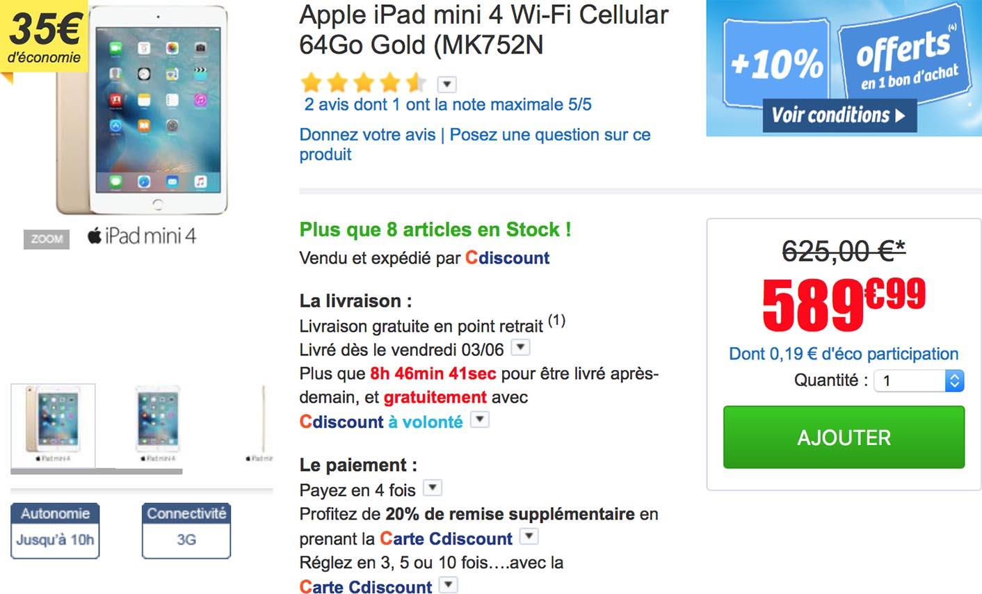 iPad mini 4 4G CDiscount