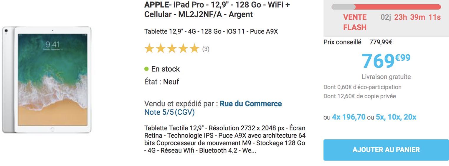 iPad Pro vente flash Rue du Commerce