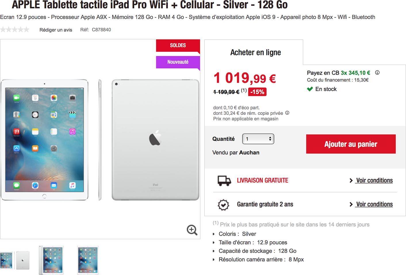 iPad Pro promo Auchan