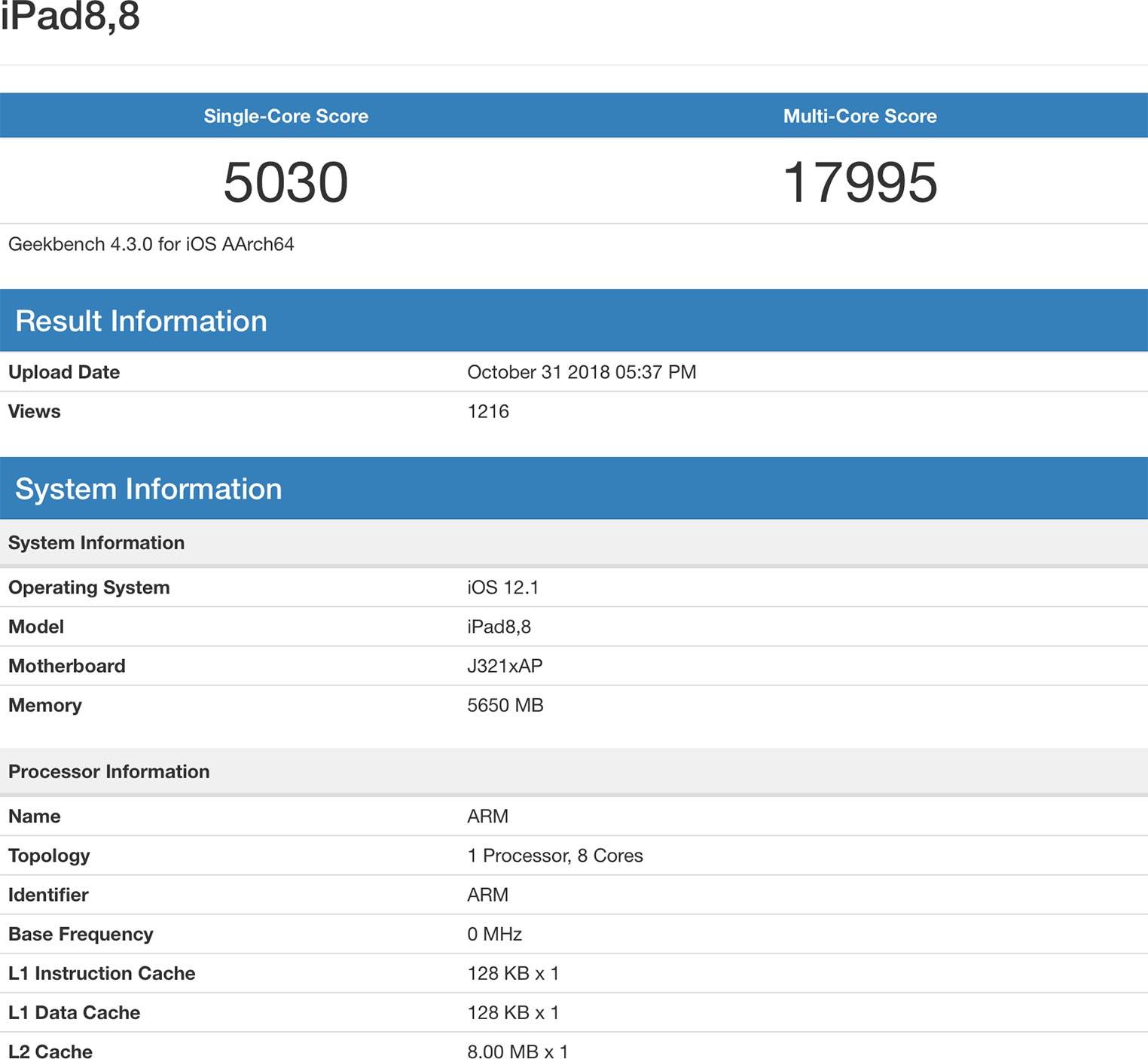 iPad Pro 2018 benchmark