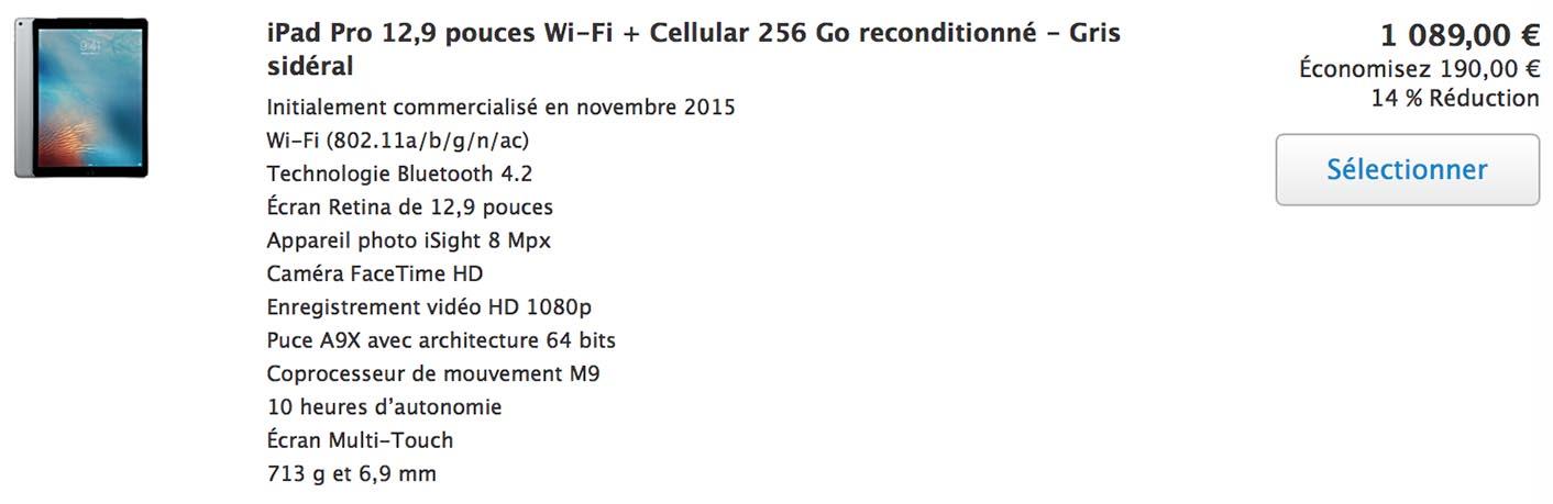iPad Pro 256 Go cellulaire Refurb