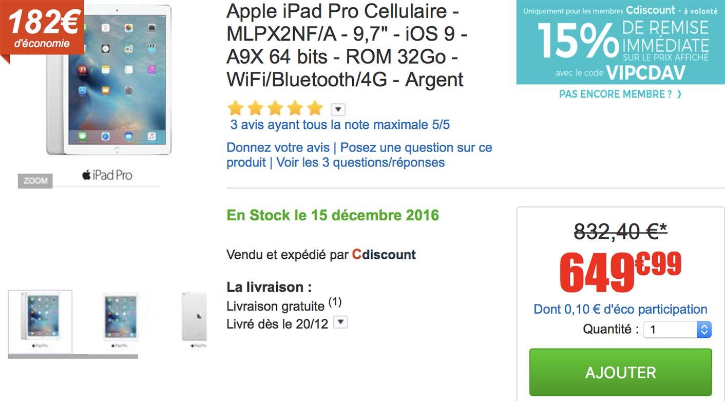 iPad Pro promo CDiscount