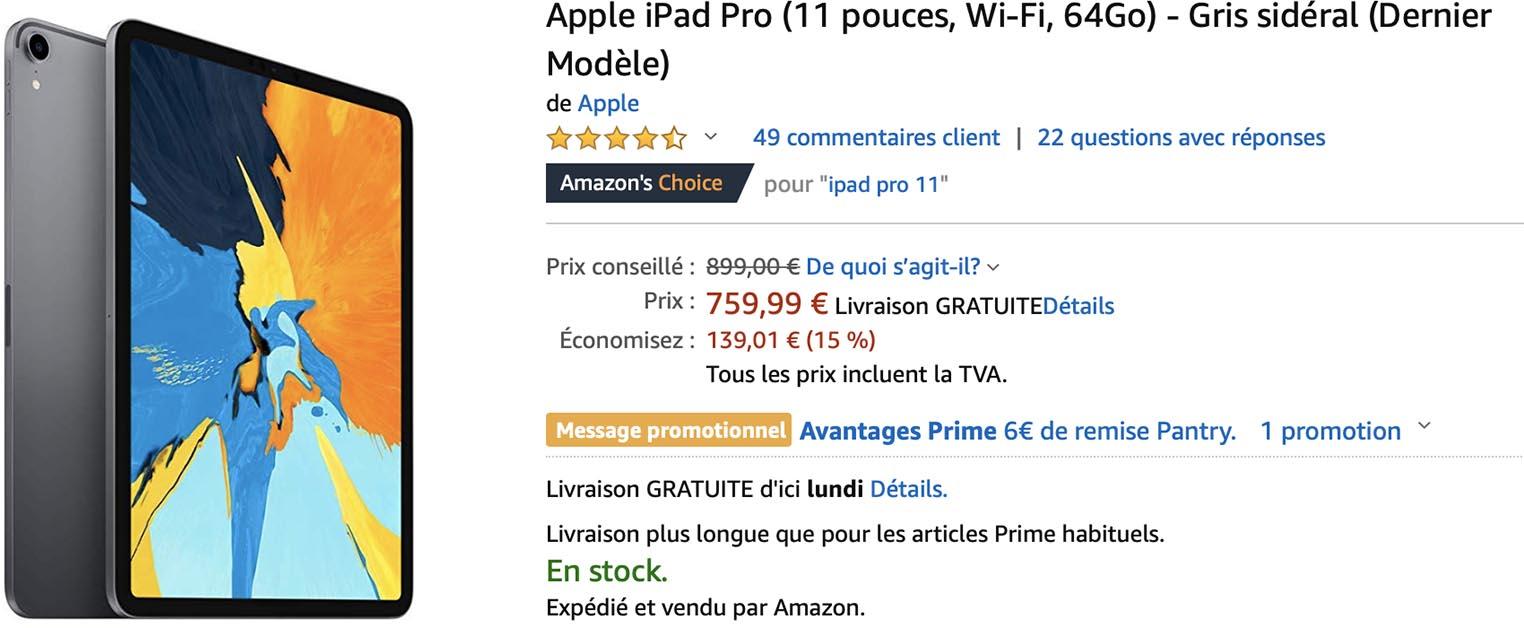 iPad Pro 11 pouces Amazon