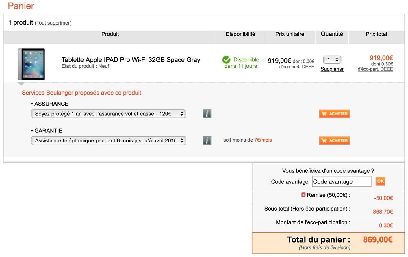 iPad Pro Boulanger