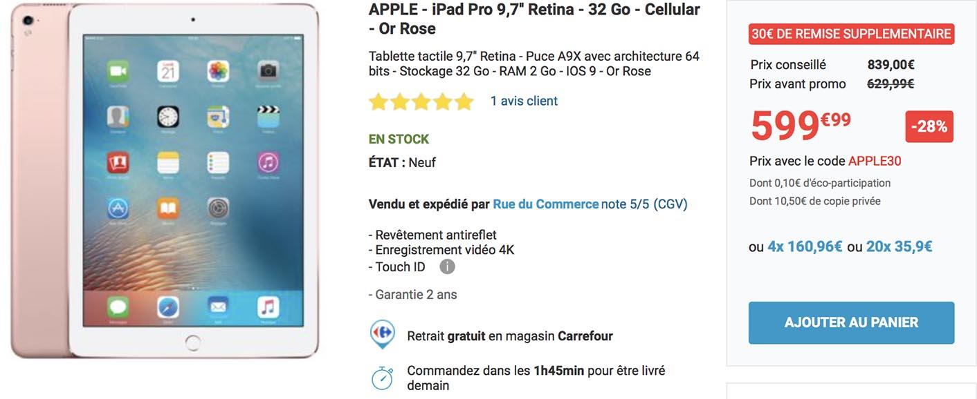 iPad Pro promo Rue du Commerce