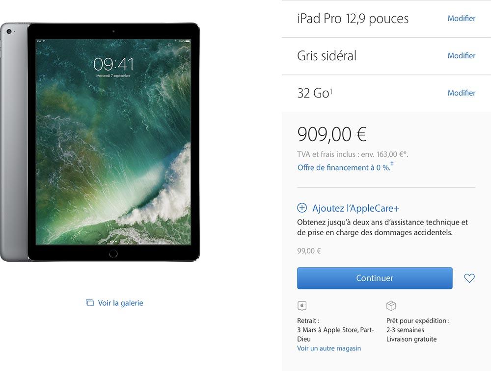 iPad Pro délais Apple Store