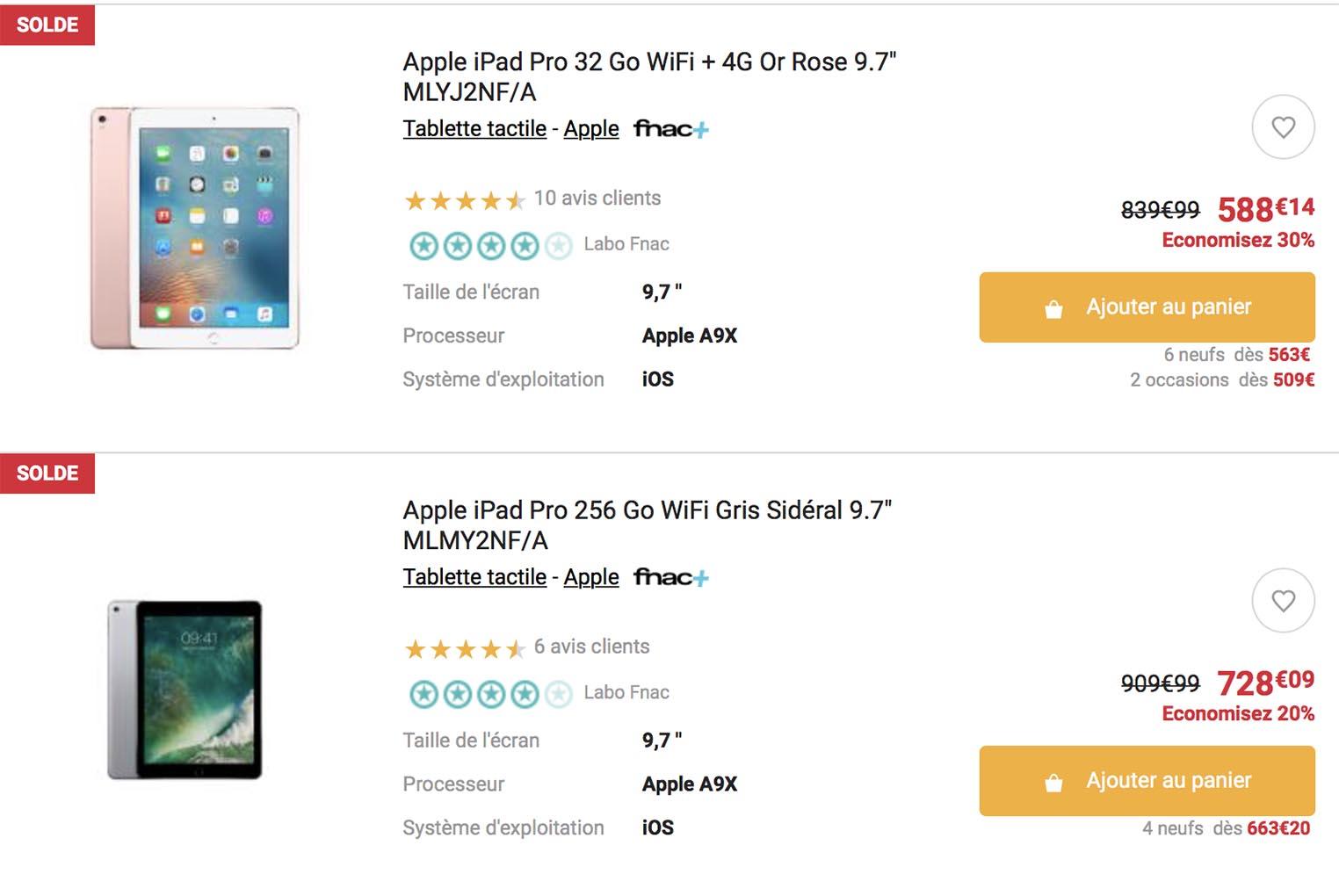 Soldes iPad Pro Fnac