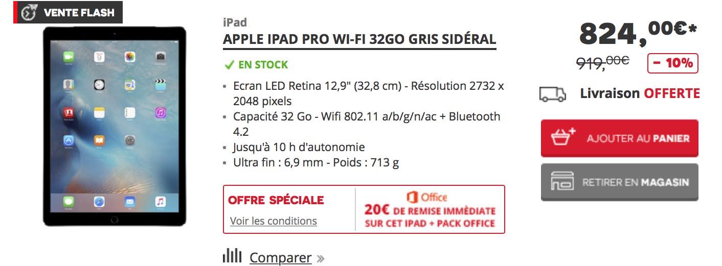 iPad Pro vente flash Darty