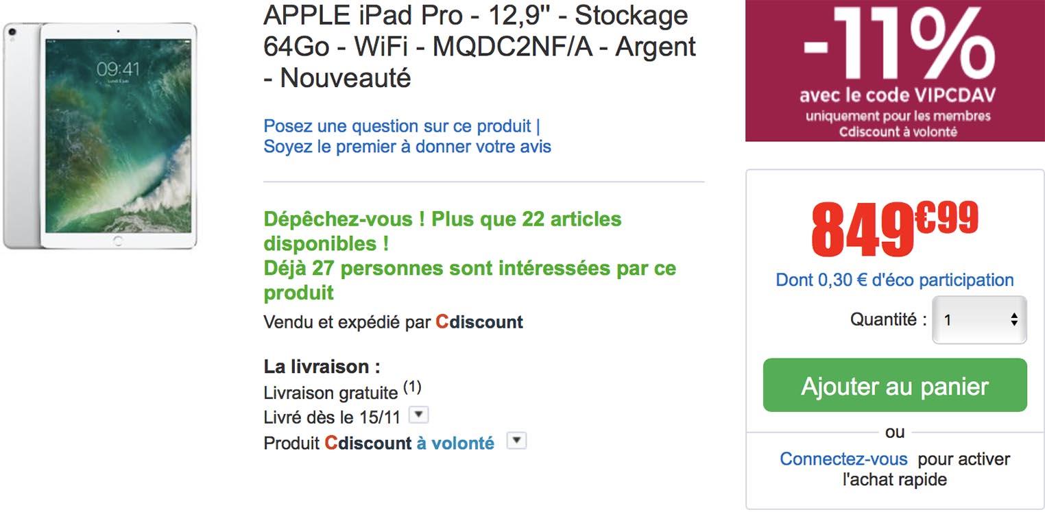 iPad Pro CDiscount