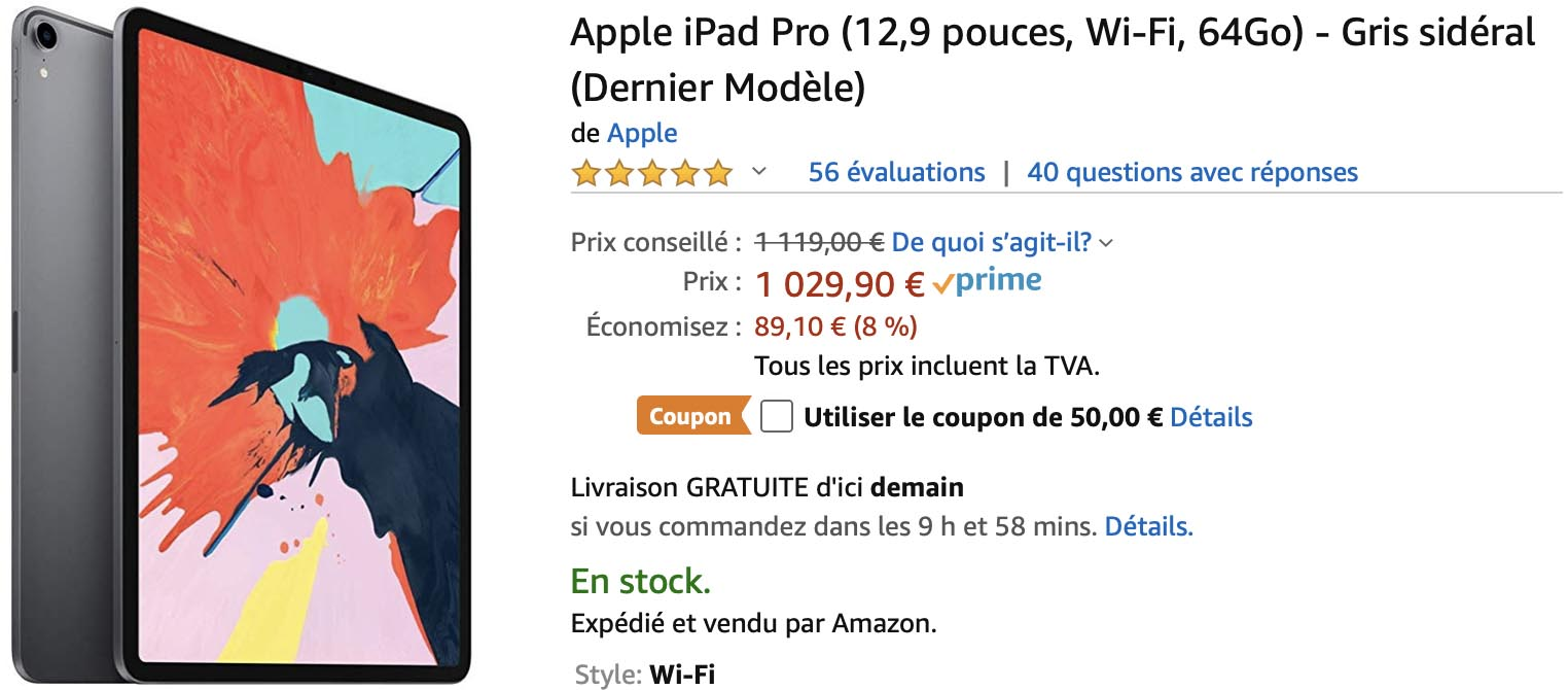 Un iPad Pro 12,9 pouces de 64 Go à 979,90€