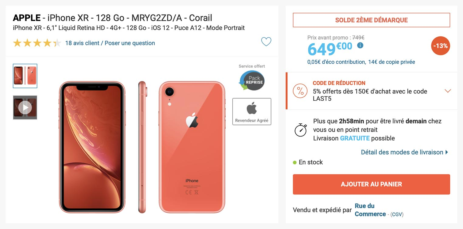iPhone XS corail