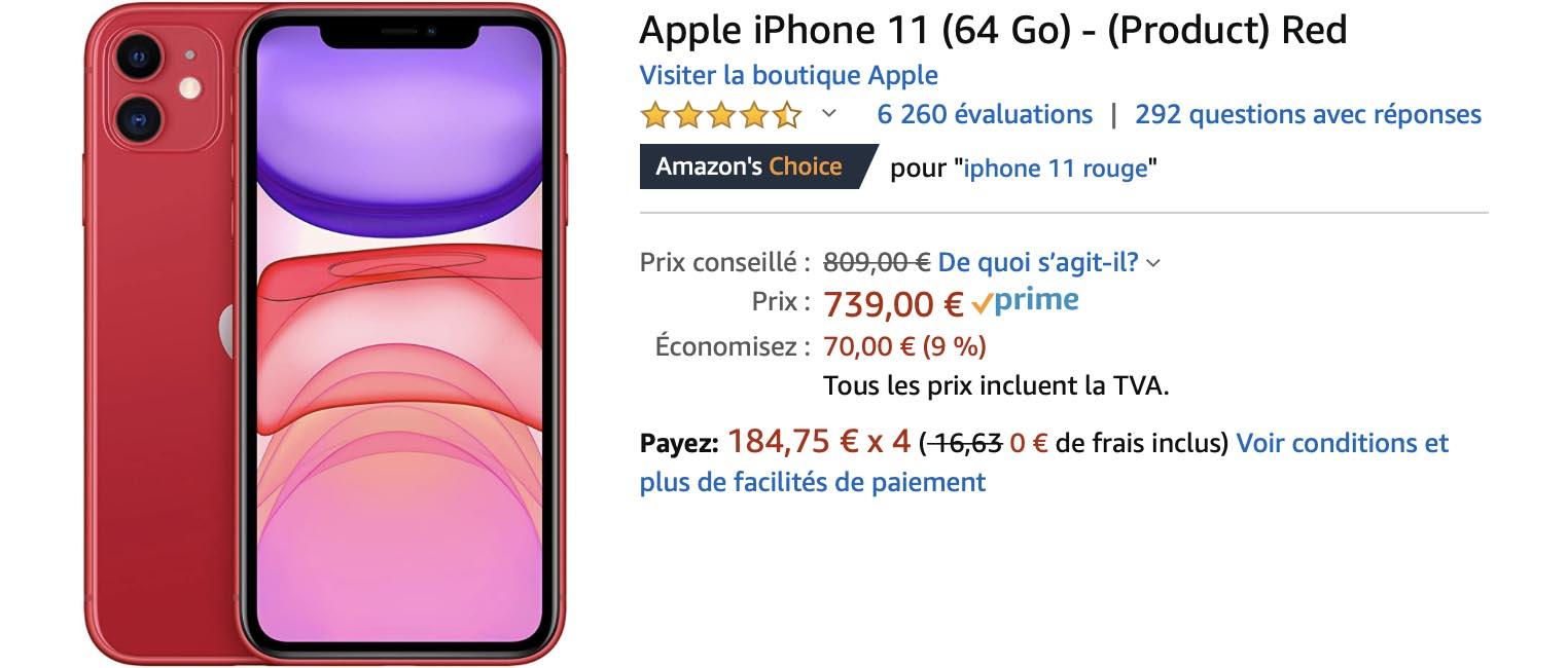 iPhone 11 rouge Amazon