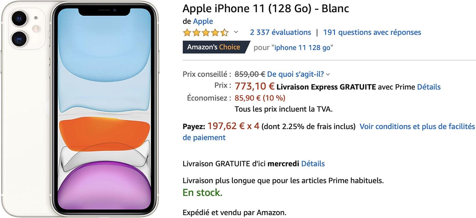 iPhone 11 blanc Amazon