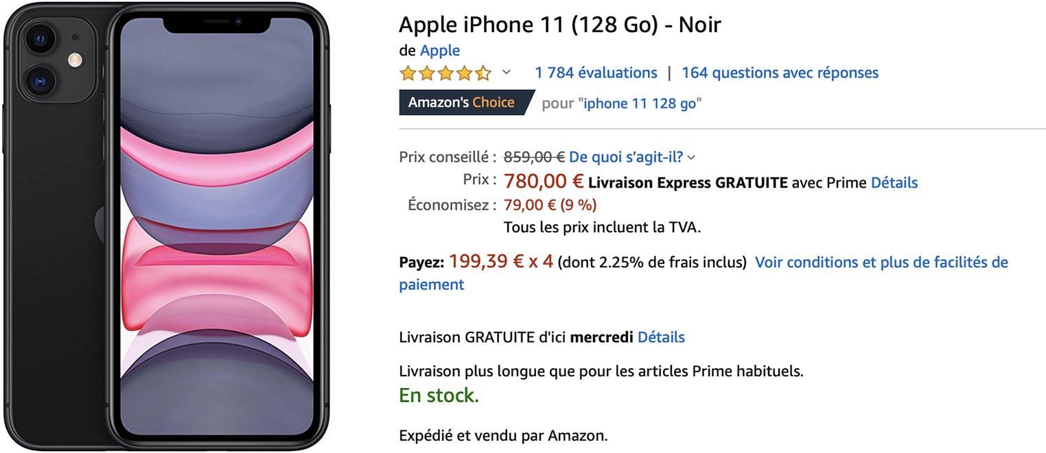 iPhone 11 noir Amazon