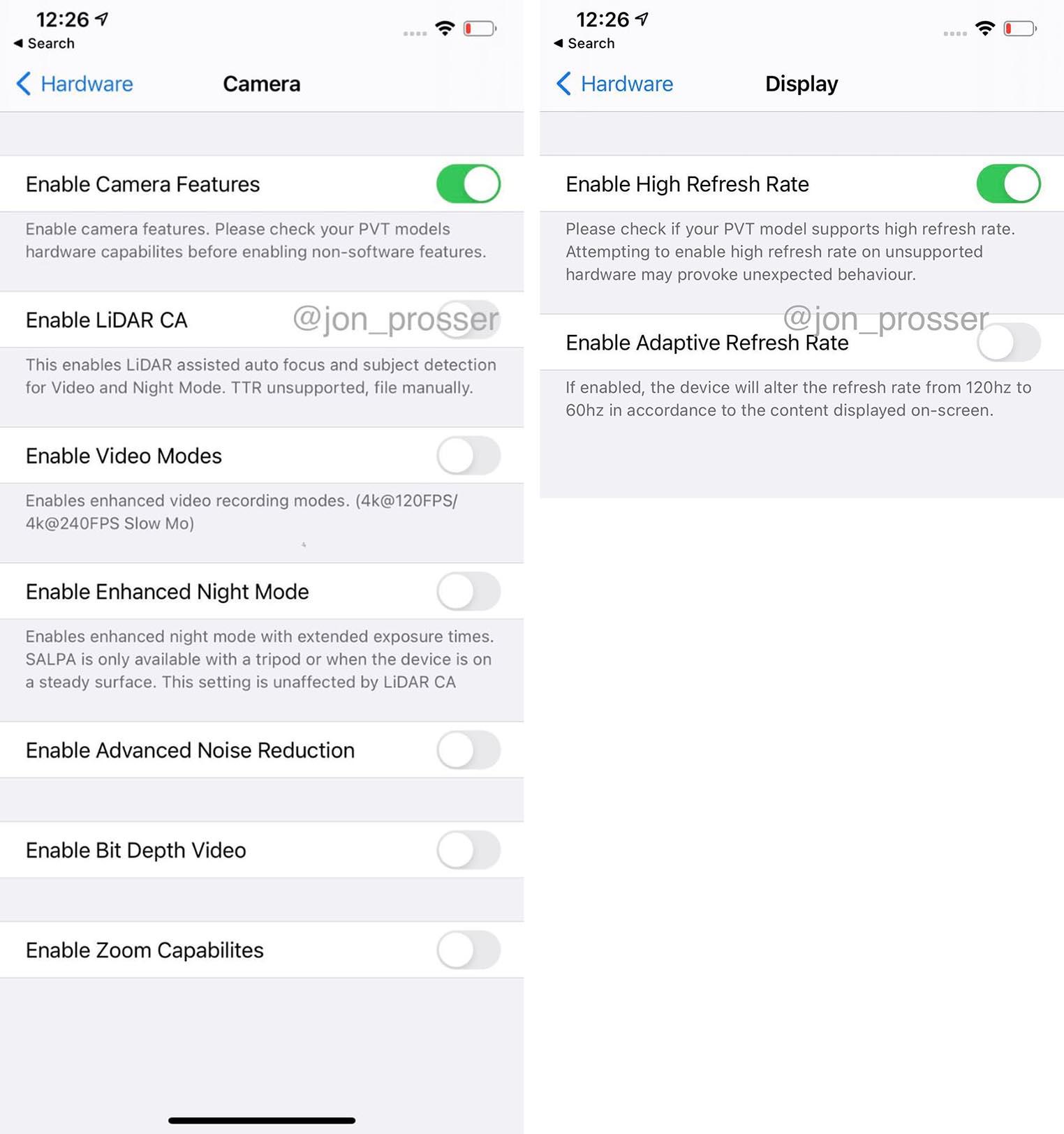 iPhone 12 120 Hz LiDAR screenshot