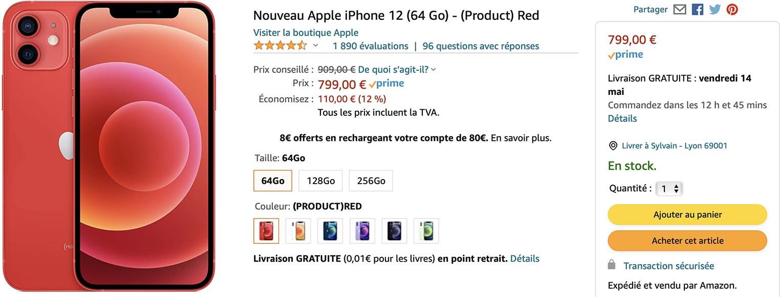 iPhone 12 rouge Amazon