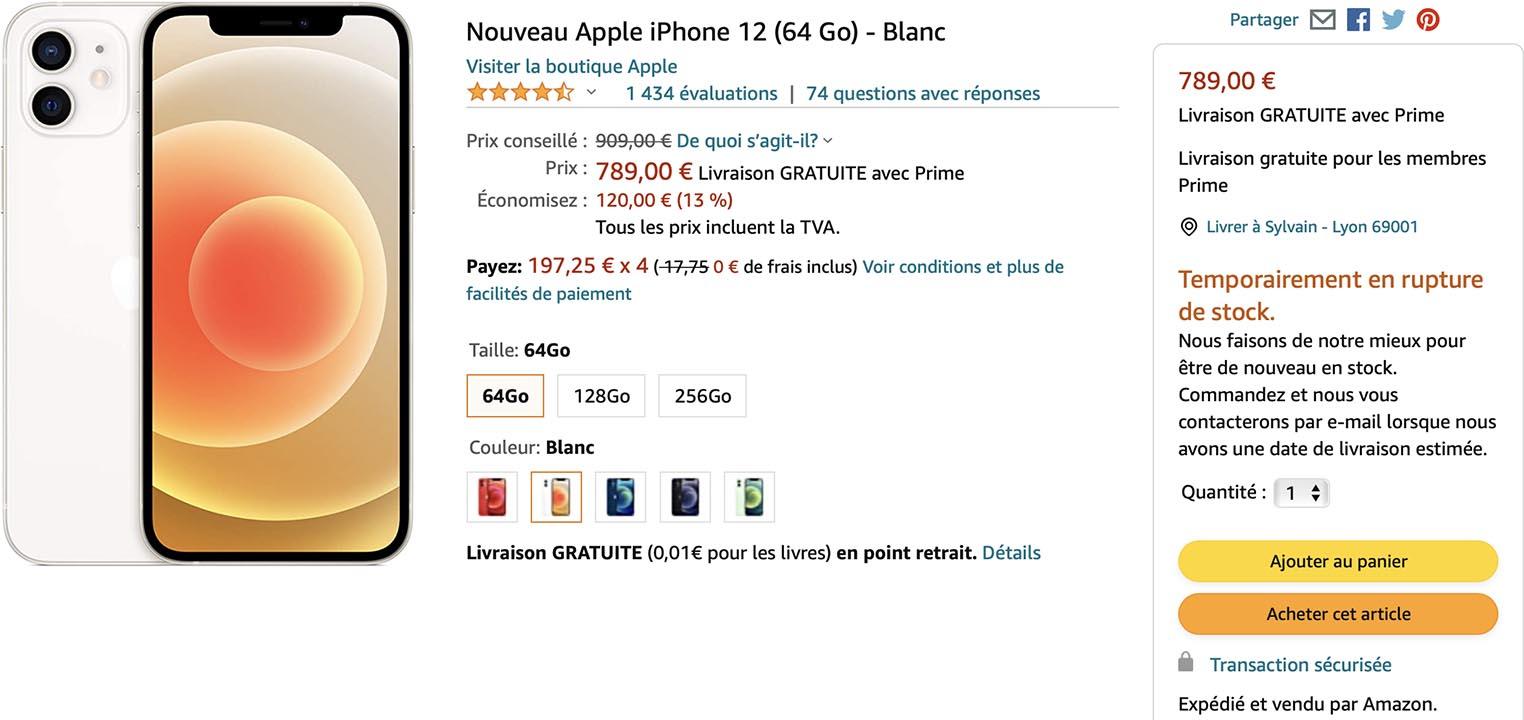 iPhone 12 blanc Amazon