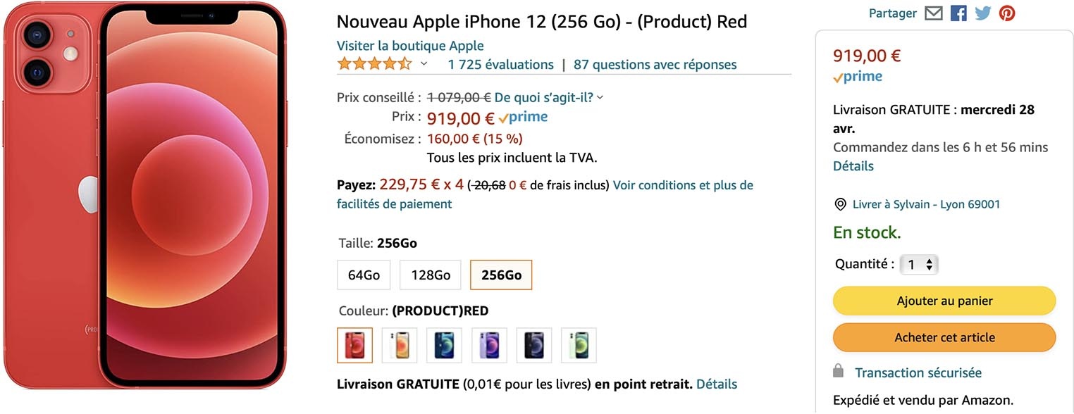 iPhone 12 256Go rouge Amazon
