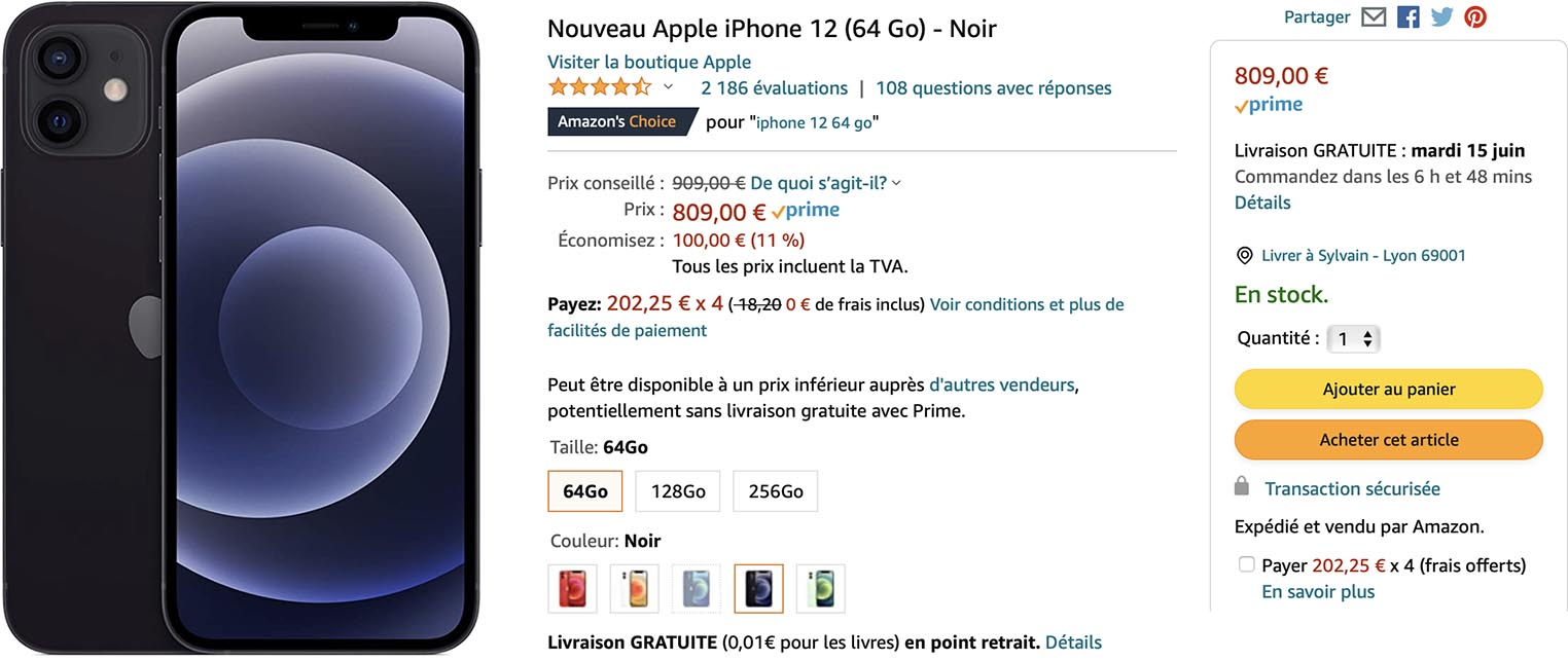 iPhone 12 noir Amazon