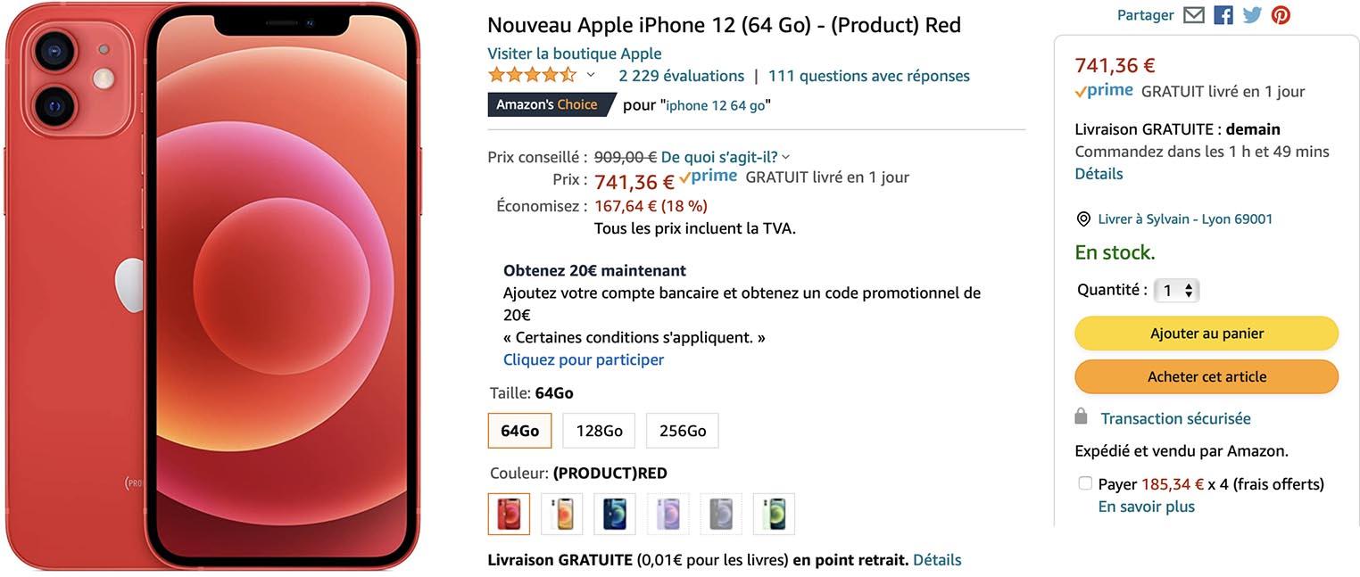 iPhone 12 rouge promo Amazon