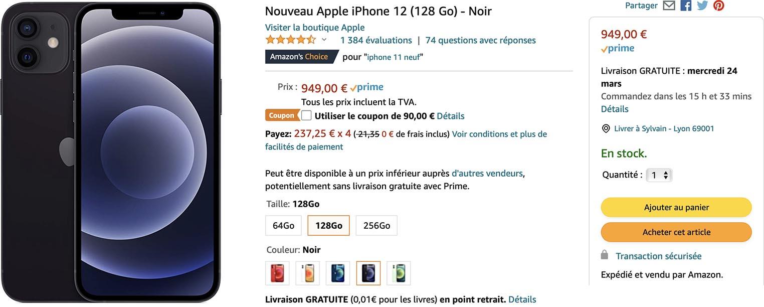 iPhone 12 noir coupon Amazon