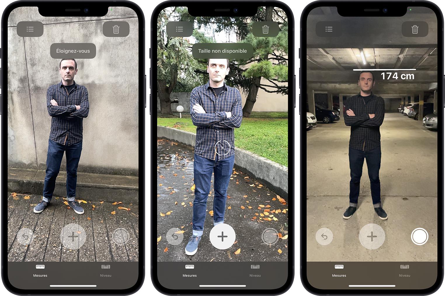iPhone 12 Pro LiDAR mesure taille d'une personne