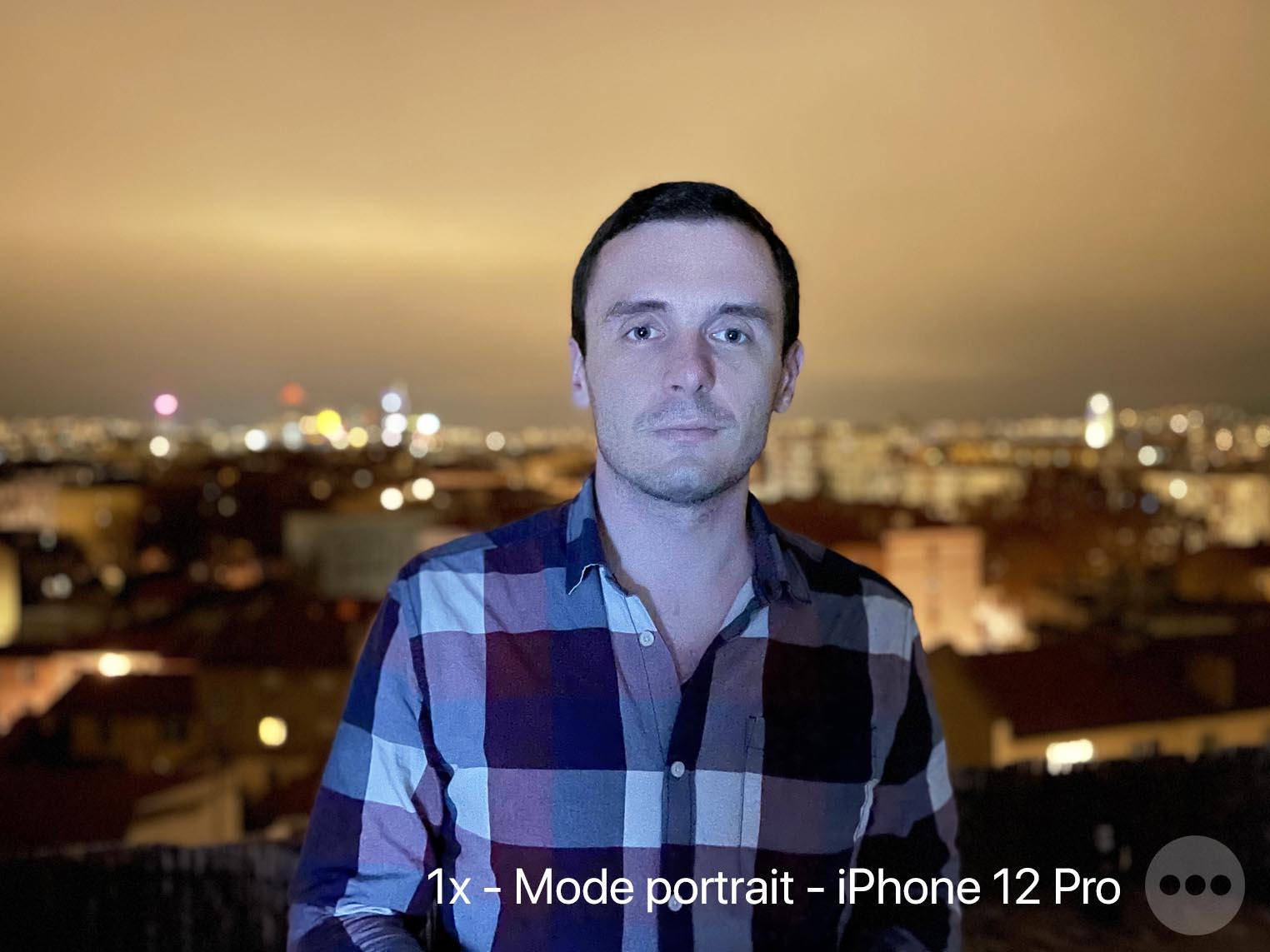 iPhone 12 mode portrait en mode nuit