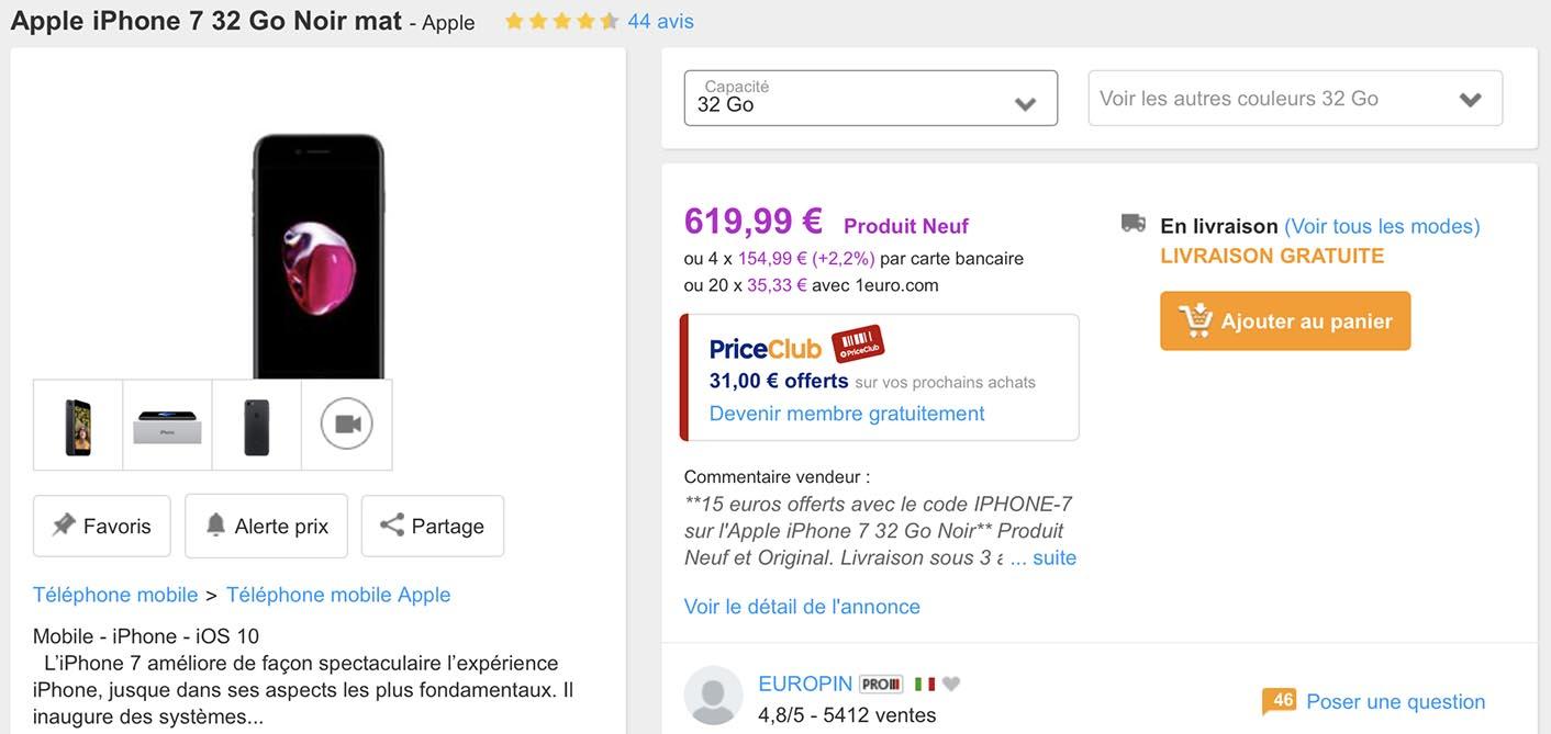 iPhone promo PriceMinister