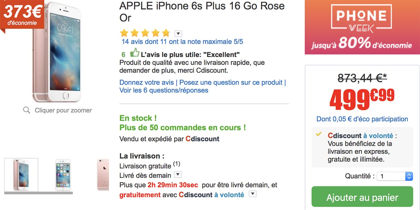 iPhone 6s Plus promo CDiscount